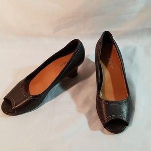 Aerosoles Hide and Peek Open Toe Wedge Shoe Sz 7.5